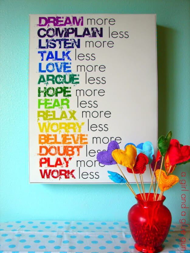 Rainbow Text Wall Art DIY Decor Ideas For Teen Girls (Step by step)