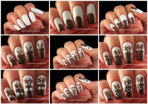 reindeer-nail-art-tutorial Simple and Easy Nail Art Tutorial - Step by step