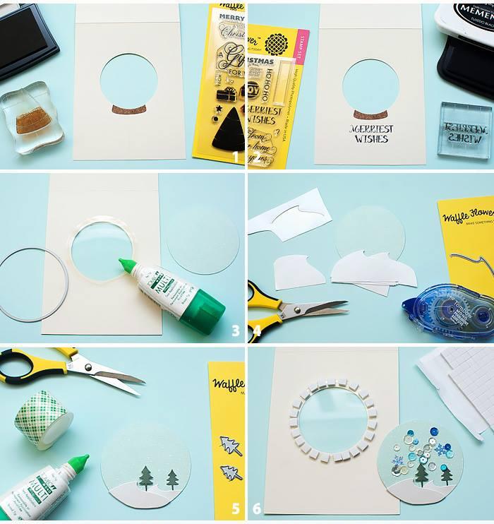 Snow-Globe-Shaker-Cards Waffle Flower: Snow Globe Shaker Cards Easy Handmade Card for Birthday