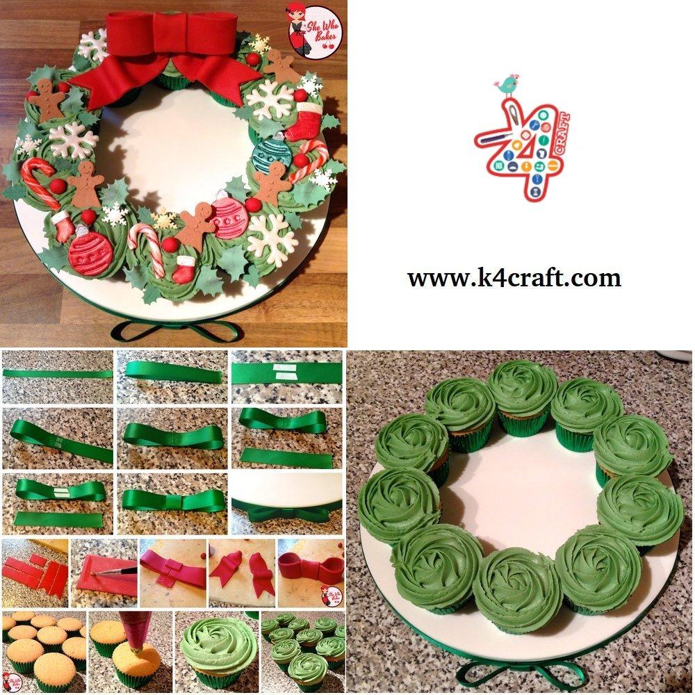 cupcake-wreath-tutorial-k4craft DIY Food Christmas Wreath Step by Step Tutorial
