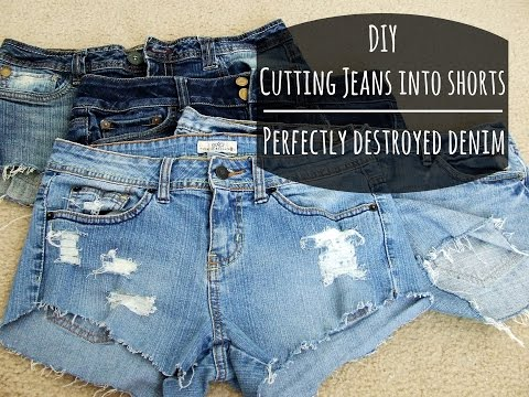 cutting-jeans-into-sorts DIY Clever Projects from OLD DENIM JEANS - Step by step tutorial