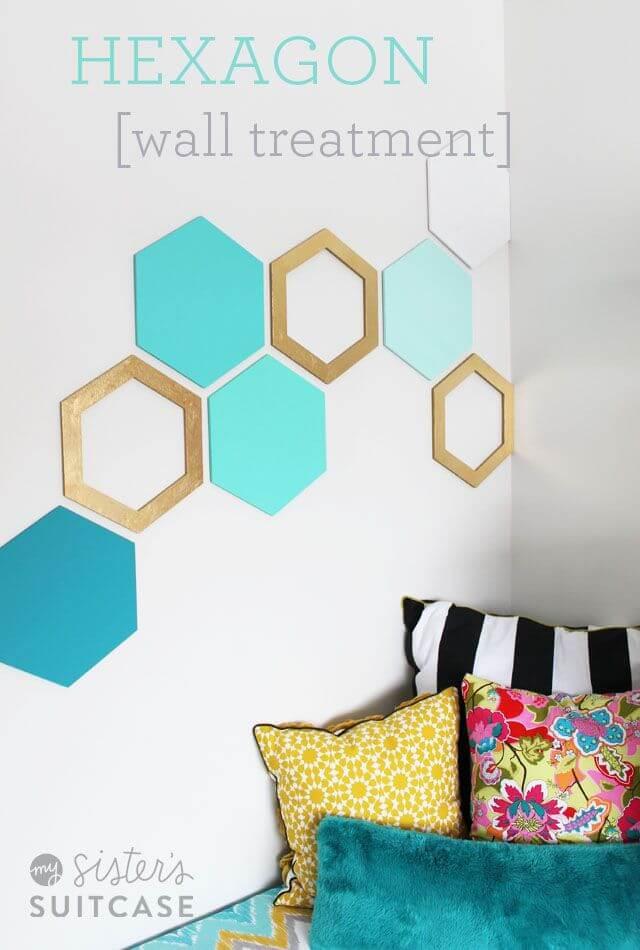 Hexagon Wall Treatment DIY Decor Ideas For Teen Girls (Step by step)