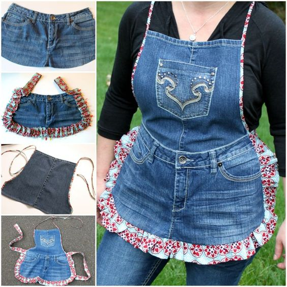 kitchen-apparels DIY Clever Projects from OLD DENIM JEANS - Step by step tutorial