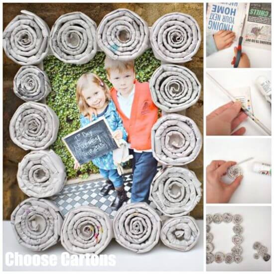 newspaper-frames Holiday Simple Gift Giving Ideas Kids Can Make