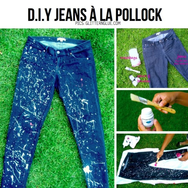 paint-splatter-old-jeans-craft DIY Craft Tutorials to Refashion Your Old Jeans - Step by step