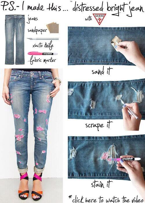 Colored-Distressed-Jeans Awesome DIY Ideas To Renew Your Old Jeans (Trendy Fashion)