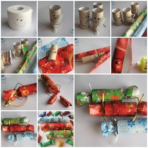DIY-Candy-Shaped-Candy-Box-from-Toilet-Paper-Roll DIY Toilet Paper Roll Crafts Ideas - Step by step
