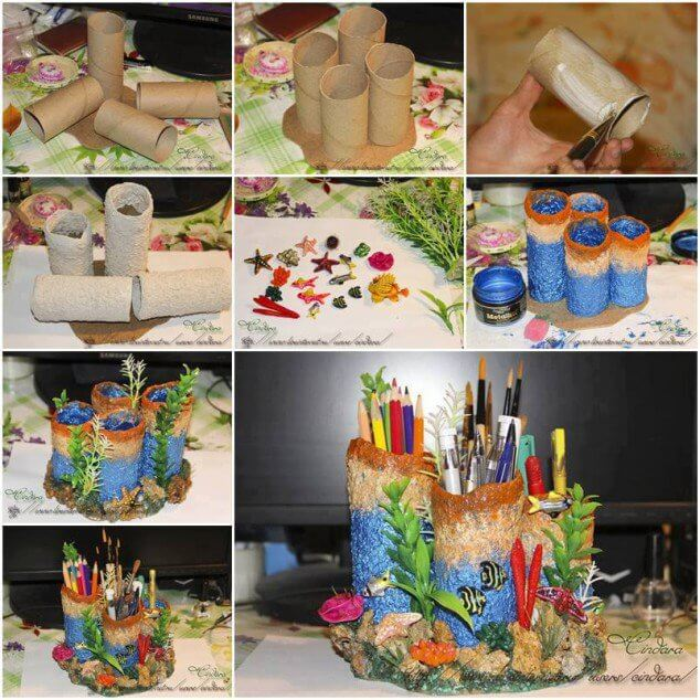 DIY-Coral-Reef-toilet-papers-Desk-Organizer DIY Toilet Paper Roll Crafts Ideas - Step by step