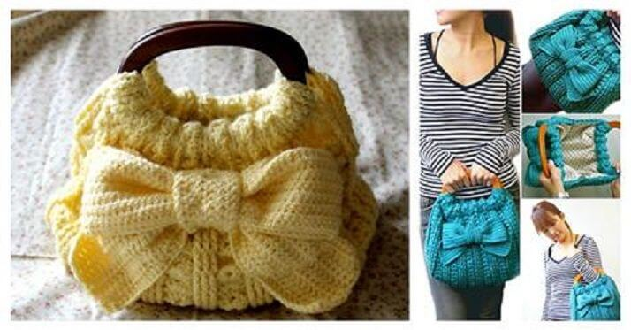 DIY-Crochet-Ribbon-Accent-Bag-Tutorial DIY Crochet ideas for Beginners - Step by step