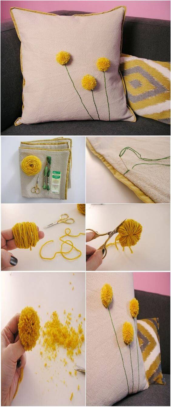 DIY Dandelion Pom Pom Pillow Stylish DIY Pillow Craft Ideas - Step by step