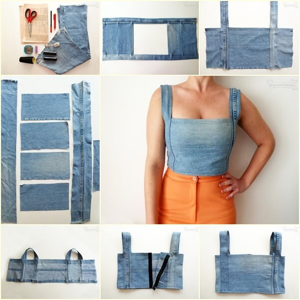 DIY Sexy Crop Top from Old Jeans Awesome DIY Ideas To Renew Your Old Jeans (Trendy Fashion)