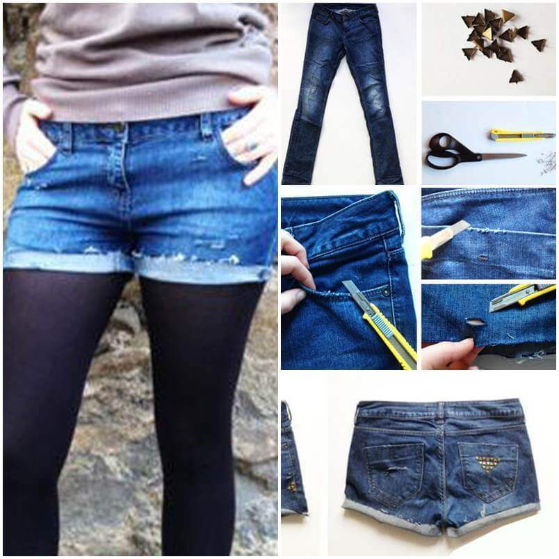 DIY-Studded-Shorts-from-Old-Jeans Awesome DIY Ideas To Renew Your Old Jeans (Trendy Fashion)