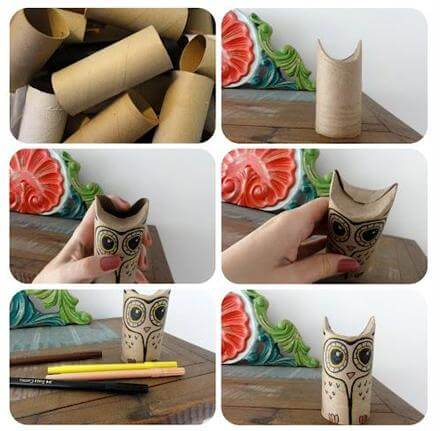 DIY Toilet Paper Roll Owl DIY Toilet Paper Roll Crafts Ideas - Step by step