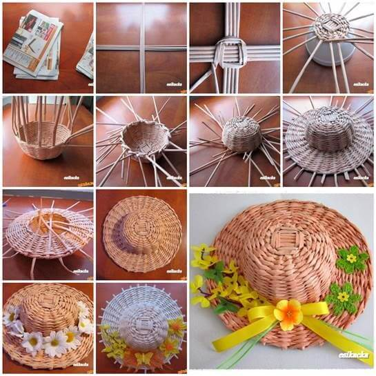 DIY Woven Paper Decorative Hat Craft tutorials from Old Newspapers & Magazines - Step by step