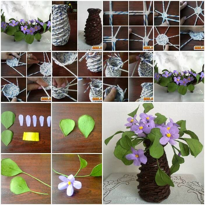 DIY flower pot from Newspaper Craft tutorials from Old Newspapers & Magazines - Step by step