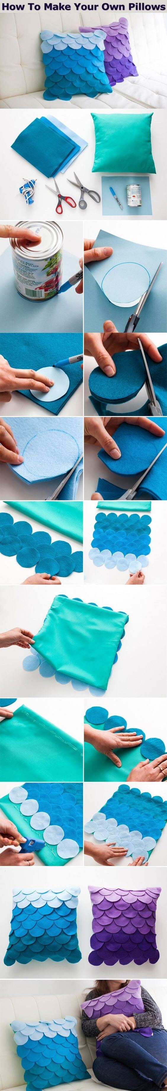 Diy pillows cover design from felt Stylish DIY Pillow Craft Ideas - Step by step