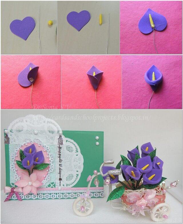 Foam sheet Card flower crafts Simple Foam Sheet Craft Ideas - Step by step