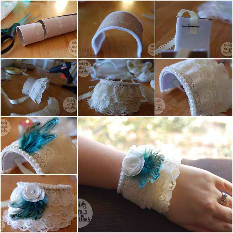How-to-DIY-Lace-Cuff-Bracelet-from-Toilet-Paper-Roll DIY Toilet Paper Roll Crafts Ideas - Step by step
