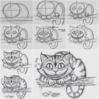 How-to-Draw-the-Cheshire-Cat Drawing Lessons: Easy Step by Step Drawing Tutorials