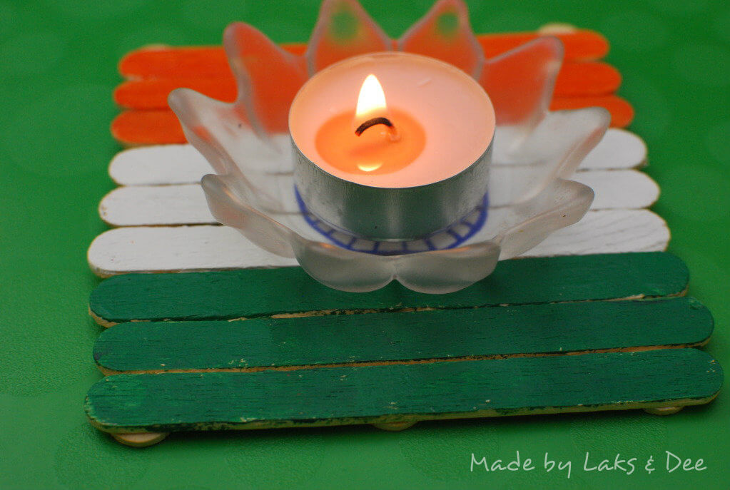 India Tri Color popsicle stick diya holder The Ultimate List: 50+ Ideas for India Republic Day Celebration