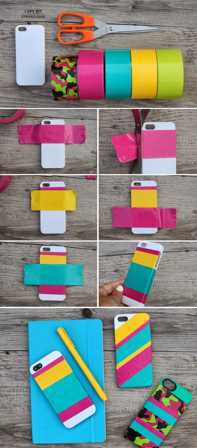 STRIPED Mobile PHONE CASE Easy Mobile Phone Case Decoration Ideas - Step by step