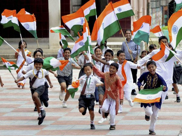 School-Kids-Running-With-Indian-Flags-Happy-Independence-Day-Of-India The Ultimate List: 50+ Ideas for India Republic Day Celebration