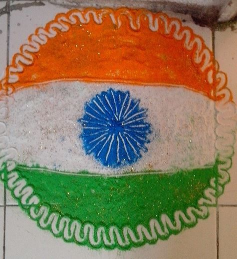 Simple-Tri-Color-Rangoli-Design-Idea-On-The-Occasion-Of-Independence-Day-Of-India The Ultimate List: 50+ Ideas for India Republic Day Celebration