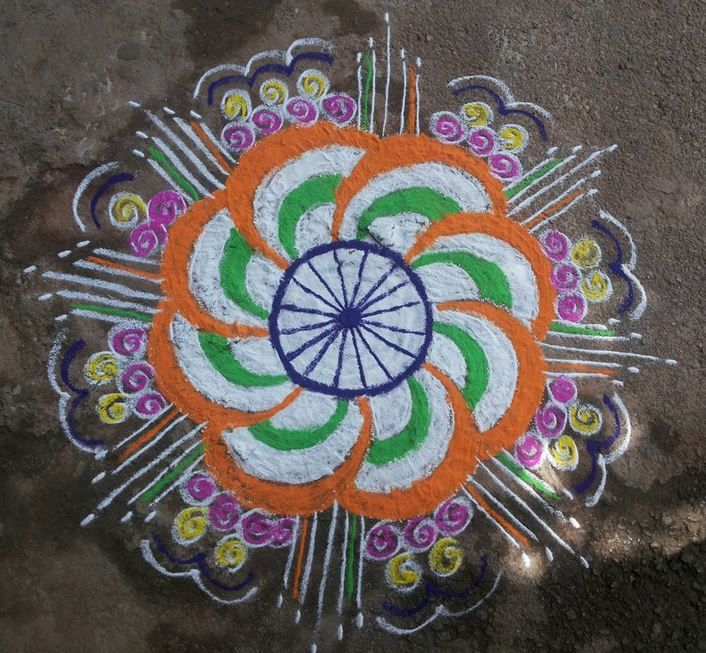 Tri-Color-Flower-Rangoli-Design-Idea-Independence-Day The Ultimate List: 50+ Ideas for India Republic Day Celebration