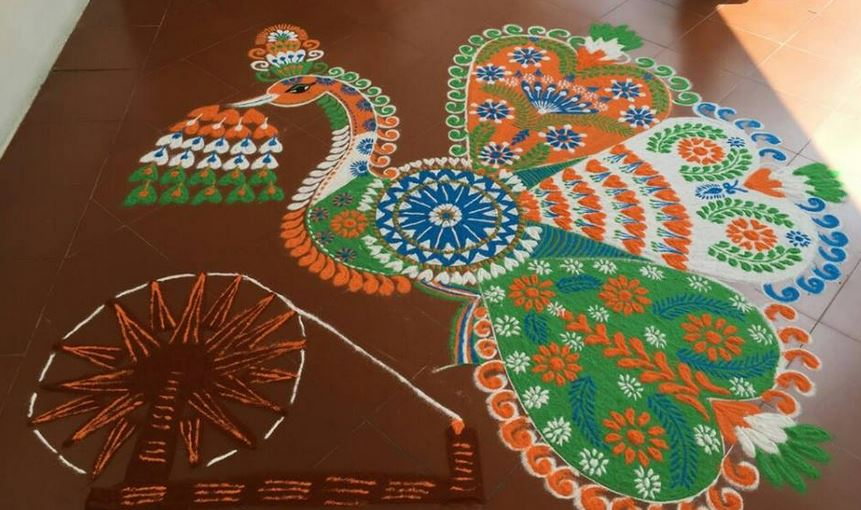 Tri-Color-Peacock-Rangoli-Design-For-Independence-Day The Ultimate List: 50+ Ideas for India Republic Day Celebration