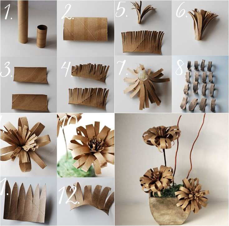 Vintage-paper-flower-from-Toilet-Paper-roll-DIY DIY Toilet Paper Roll Crafts Ideas - Step by step