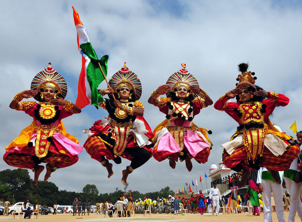 Yakshagana-Performers-Jumping-With-Indian-Flag-During-The-Independence-Day-Celebration The Ultimate List: 50+ Ideas for India Republic Day Celebration