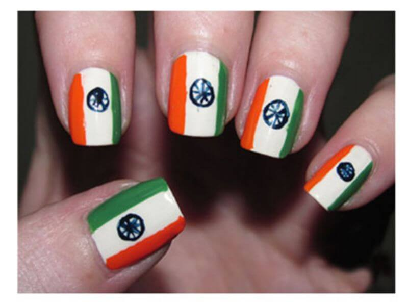 artistic-tri-colour-nail-art The Ultimate List: 50+ Ideas for India Republic Day Celebration