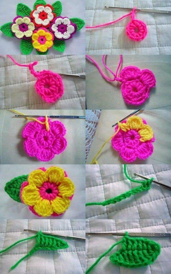 crochet-flower-step-by-step DIY Crochet ideas for Beginners - Step by step