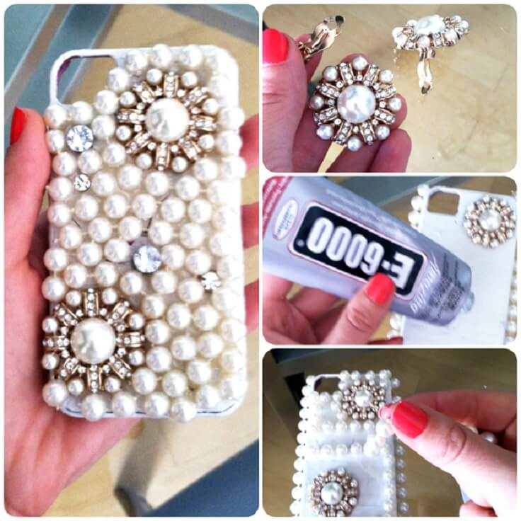 diy-pearls-decorated-phone-case Easy Mobile Phone Case Decoration Ideas - Step by step