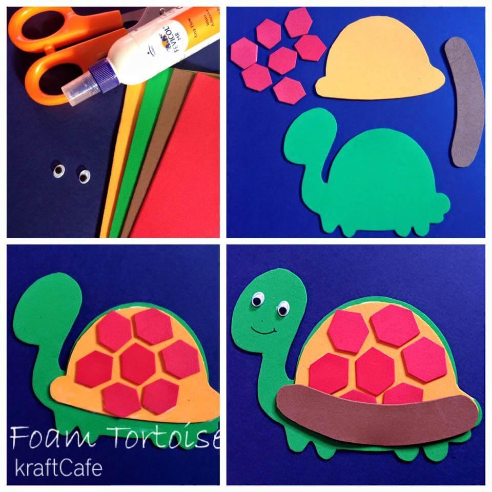 foam_sheet_tortoise Simple Foam Sheet Craft Ideas - Step by step
