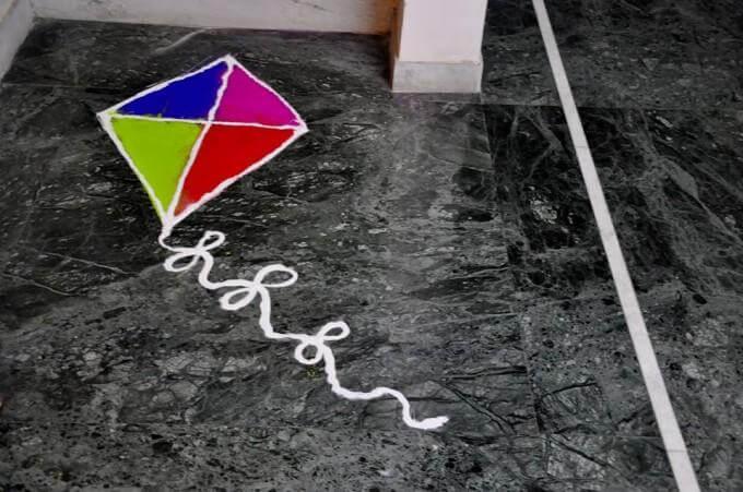 kite-rangoli Creative Craft Ideas for Makar Sankranti / Pongal