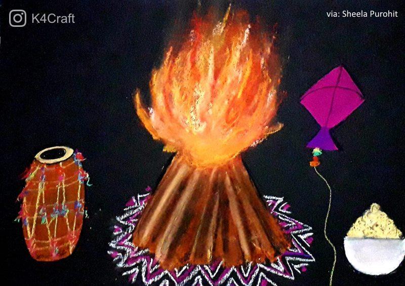 Beautiful Lohri Drawings Beautiful Craft ideas for Lohri Festival