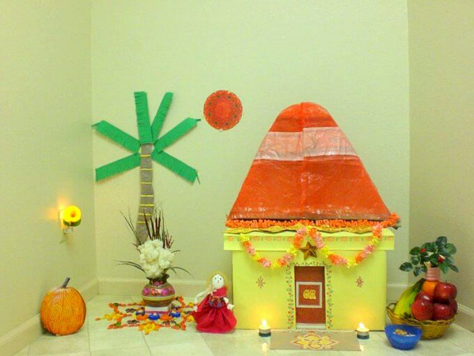 bornahan decoration ideas with yellow hut and tree