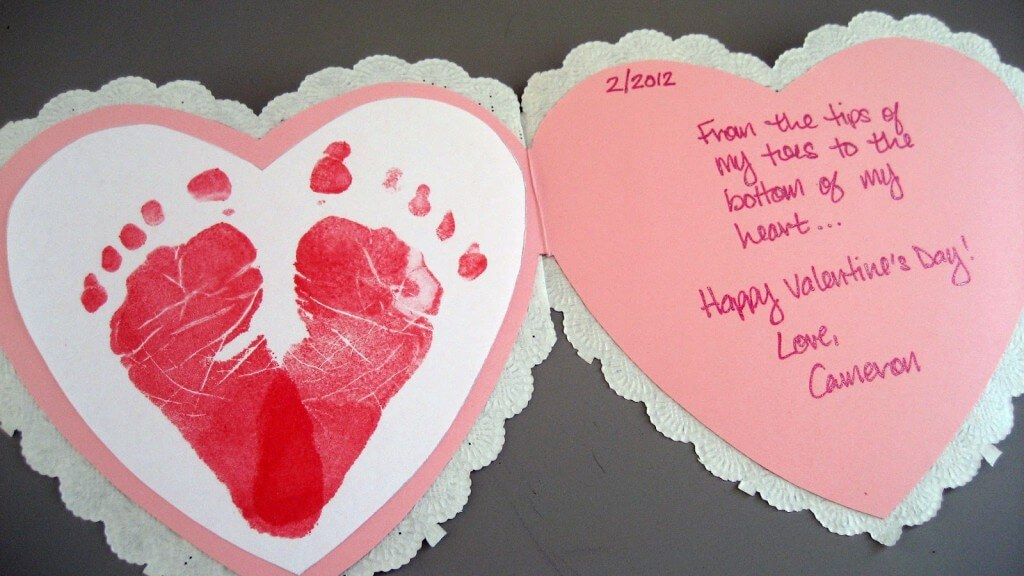 Baby-Footprints-Heart-Card 30+ Easy Valentine's Day Crafts for Kids