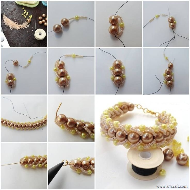 Beads-and-pearls-Bracelet-making DIY Pearls Decorated Craft Projects – Step by step