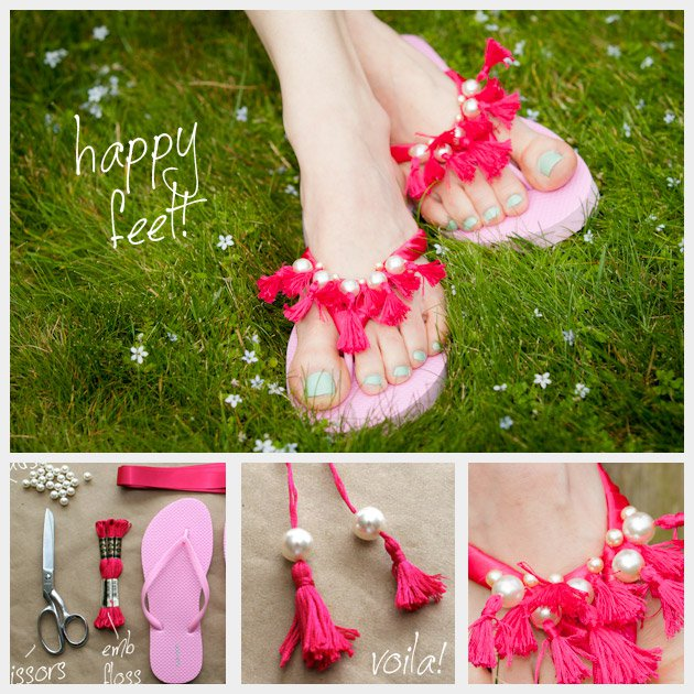 Beautiful-DIY-Pink-Slippers-with-Pearls-and-Fringes DIY Pearls Decorated Craft Projects – Step by step