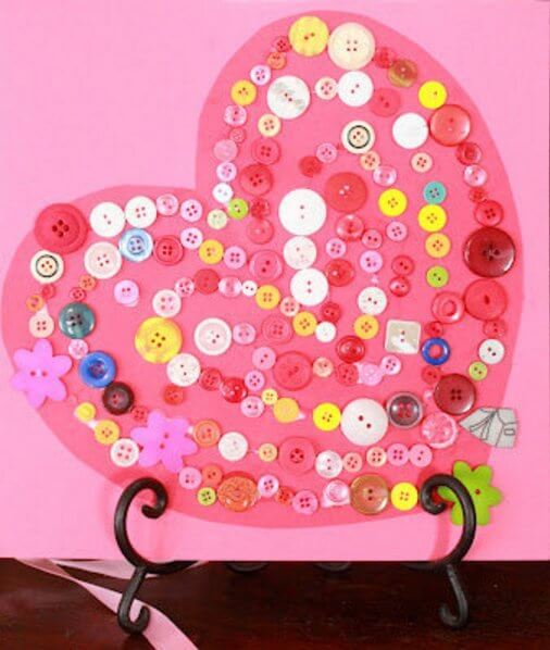 Button-Covered-Heart-Valentine 30+ Easy Valentine's Day Crafts for Kids