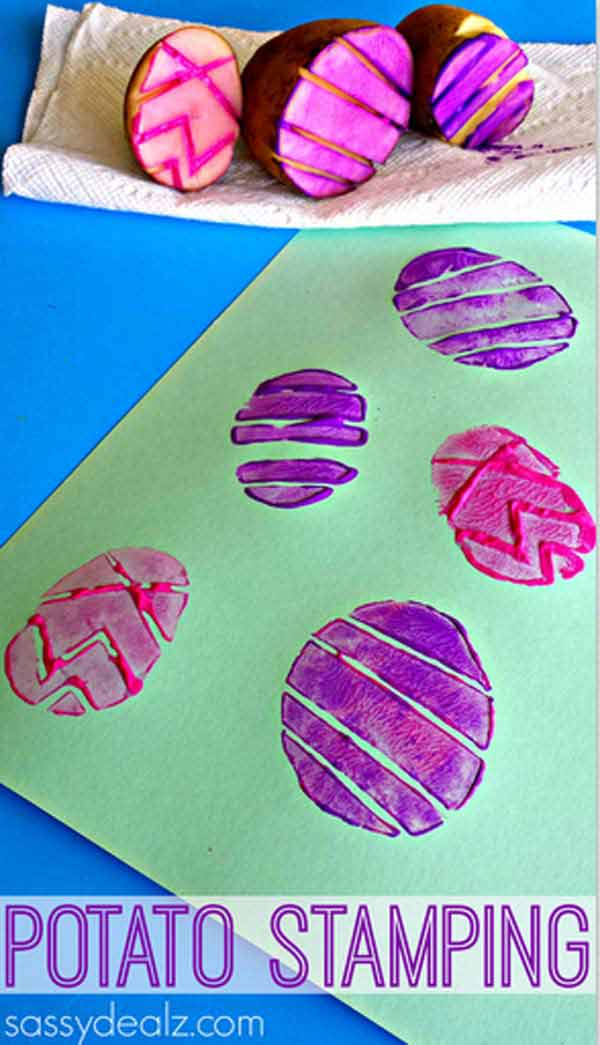 COLORFUL-POTATO-STAMPING-Easter-Crafts-for-Kids DIY Cute and Creative Easter Crafts For Kids