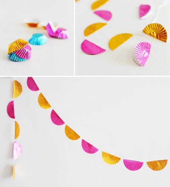 DIY-Cupcake-Liner-Garland 30+ Easy Valentine's Day Crafts for Kids