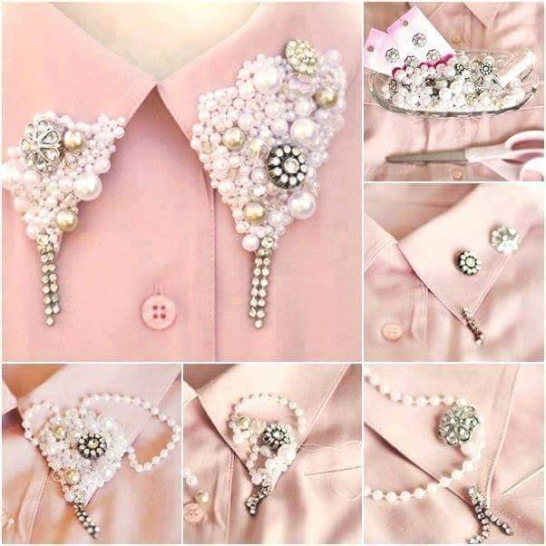 DIY-Pearl-Collar-Necklace DIY Pearls Decorated Craft Projects – Step by step