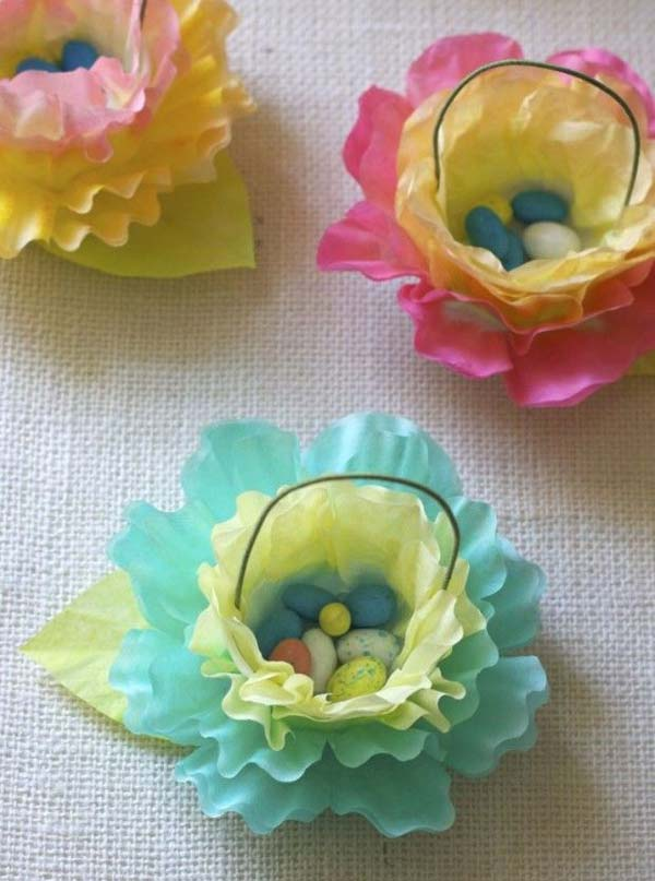 Easter-baskets made from coloured cupcake baking paper cases DIY Cute and Creative Easter Crafts For Kids