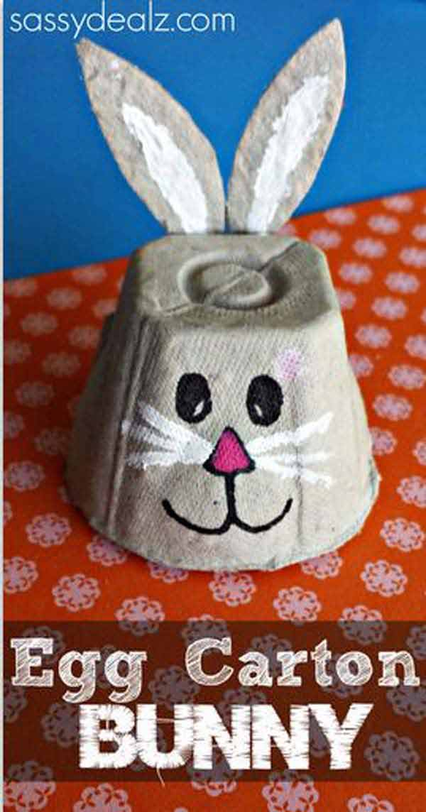 Egg-carton-bunny-Easter-Crafts DIY Cute and Creative Easter Crafts For Kids