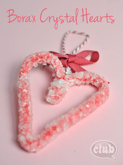 Heart-Shaped-Borax-Crystals 30+ Easy Valentine's Day Crafts for Kids