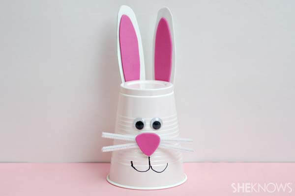 PLASTIC-CUP-CAN-Easter-bunny DIY Cute and Creative Easter Crafts For Kids