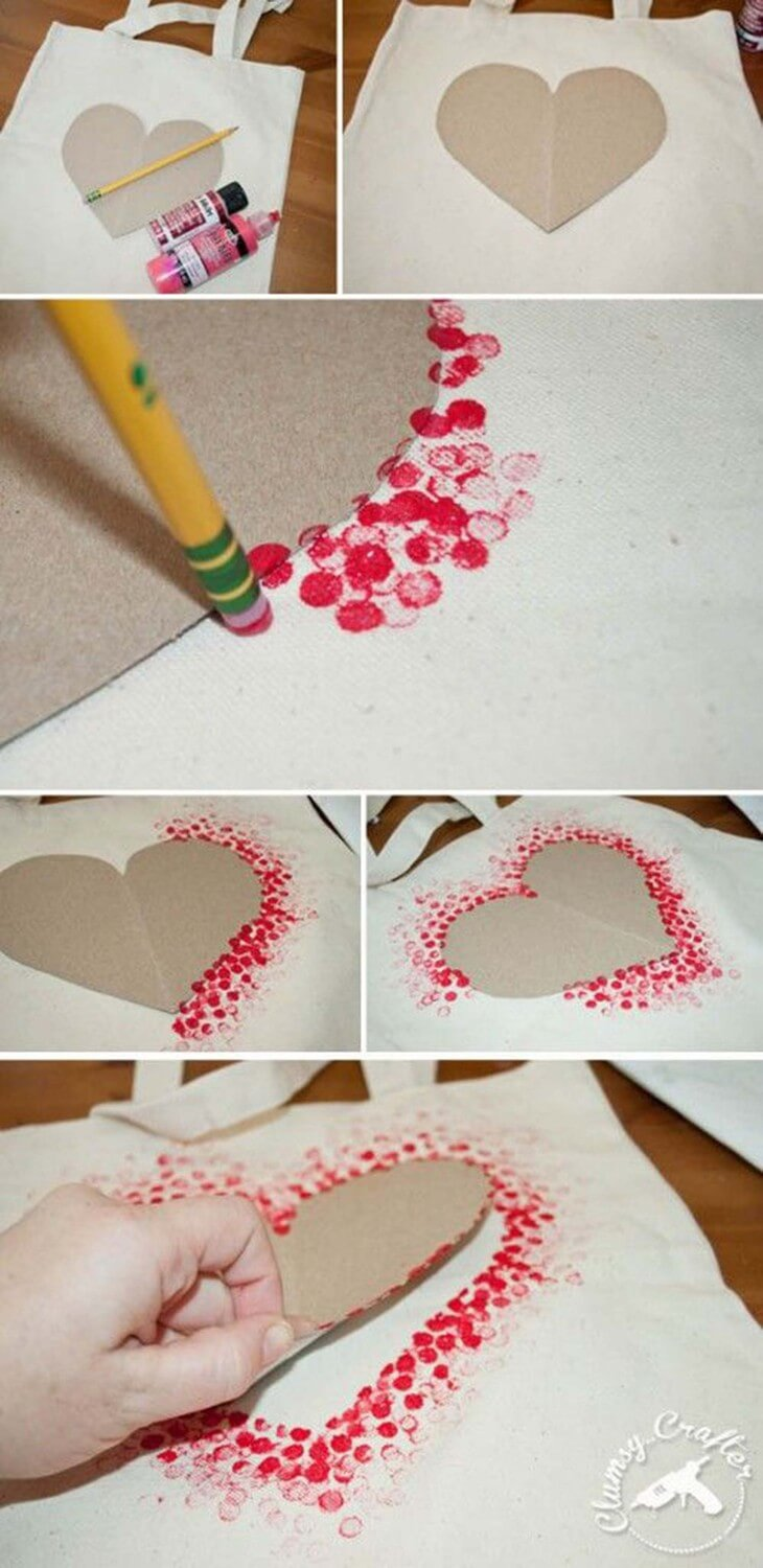 Painted-Heart-Bag-30+ Easy Valentine's Day Crafts for Kids